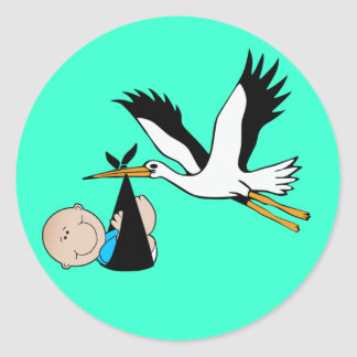 Baby Boy Blue & Stork Classic Round Sticker