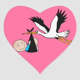 Baby Boy Blue & Stork Heart Sticker