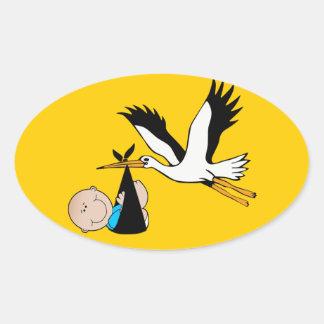 Baby Boy Blue & Stork Oval Sticker