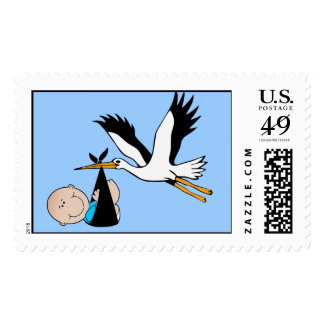 Baby Boy Blue & Stork Stamps