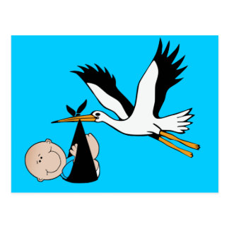 Baby Boy Blue & Stork Postcard