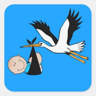 Baby Boy Blue & Stork Square Sticker