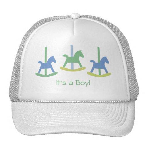 Baby Boy Blue, Yellow & Green Rocking Horse Cap Trucker Hats