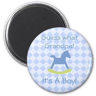 Baby Boy Blue & Yellow Rocking Horse Magnet