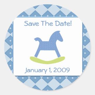 Baby Boy Blue & Yellow Rocking Horse Stickers