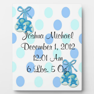 Baby Boy - Booties Keepsake Plaque With Easel