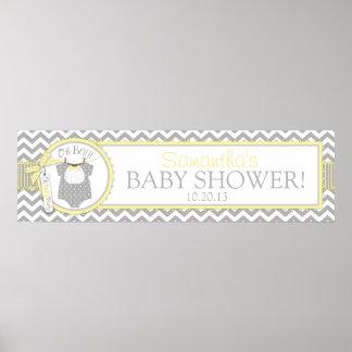 Baby Boy Bow Tie Chevron Print Baby Shower Banner