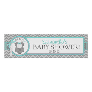 Baby Boy Bow Tie Chevron Print Baby Shower Banner