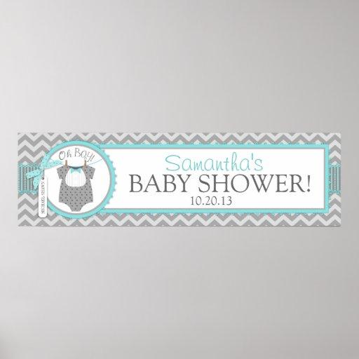 baby boy bow tie chevron print baby shower banner zazzle