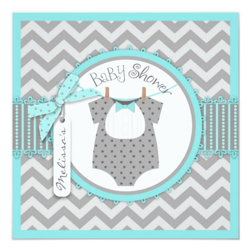 baby boy bow tie chevron print baby shower square paper