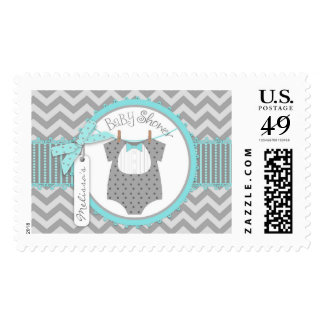 Baby Boy Bow Tie Chevron Print Baby Shower Stamp