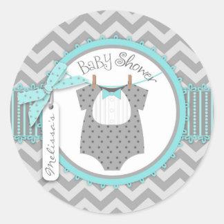 Baby Boy Bow Tie Chevron Print Baby Shower Classic Round Sticker