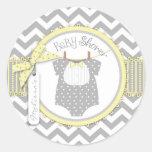 Baby Boy Bow Tie Chevron Print Baby Shower Round Stickers