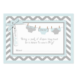 Baby Boy Bow Tie Diaper Raffle Ticket Large Business Card