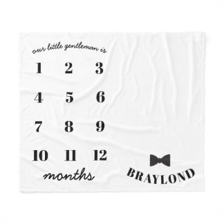 Baby Boy Bow Tie Monthly Milestone Blanket