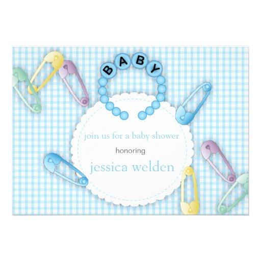 baby boy bracelet pins shower invitation 5 x 7 invitation c