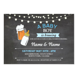 Baby Boy Brewing Shower Beers Blue Chalk Invite