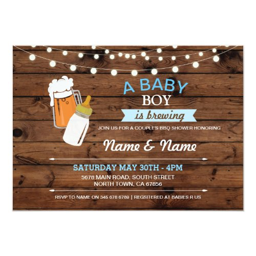 Baby Boy Brewing Shower Beers Blue Wood Invite