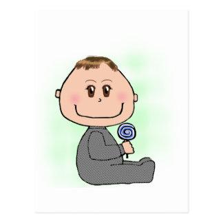 Baby boy- brown hair and eyes postcard