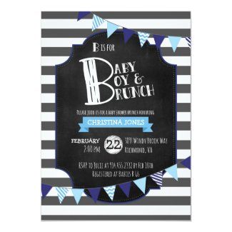 Baby Boy & Brunch Baby Shower Invitation