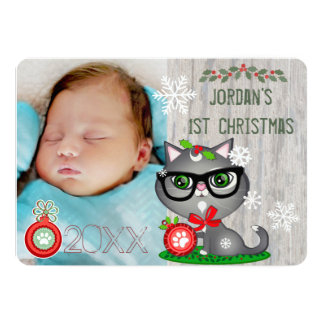 Baby Boy Cat Lover First Christmas Greeting Card