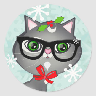 Baby Boy Cat Lover First Christmas Stickers