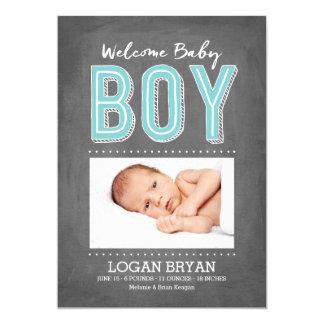 Baby Boy Chalkboard | Birth Announcement