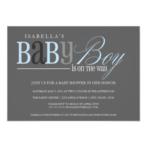 Baby Boy | Charcoal 5x7 Paper Invitation Card