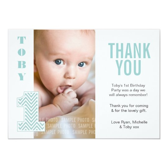 Baby Boy Chevron 1st Birthday Thank You Photo Card