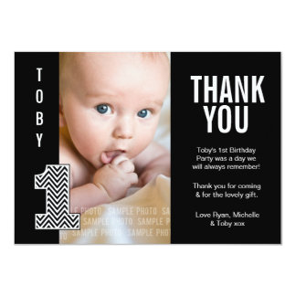 Baby Boy Chevron 1st Birthday Thank You Photo Card