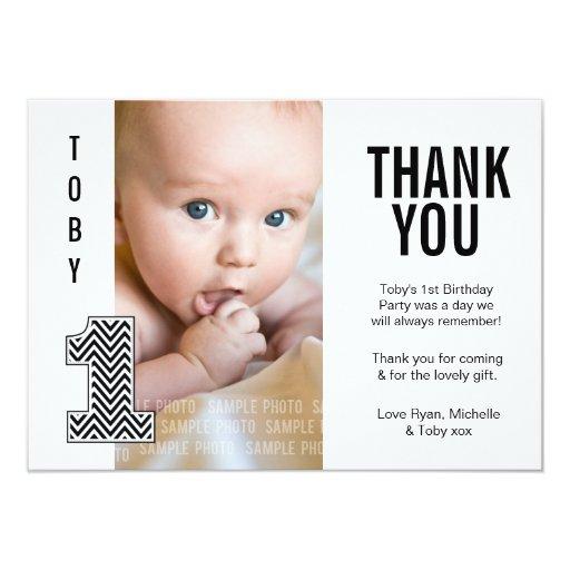 Baby Boy Chevron 1st Birthday Thank You Photo Card Custom ...