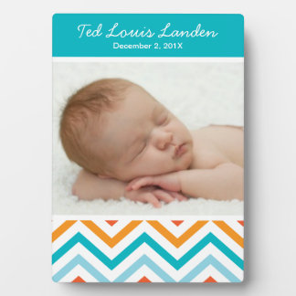 Baby Boy Chevron Photo Plaque