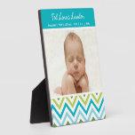 Baby Boy Chevron Photo Plaque