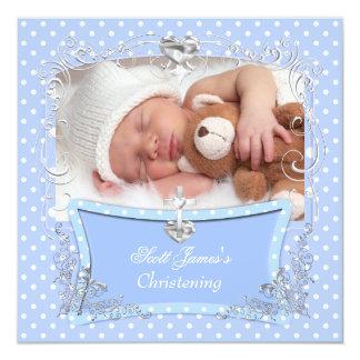 Baby Boy Christening Baptism Blue Polka Dot 2 Invitations