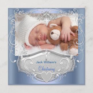 Baby Boy Christening Baptism Blue Silver Cross Announcement