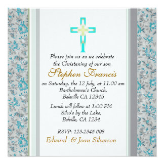 Baby Boy Christening Baptism Announcements