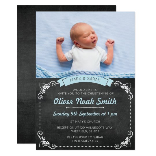 Baby Boy Christening Baptism Invitation Zazzle Com