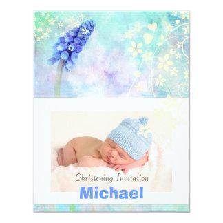 Baby boy christening invitation, blue, white art 4.25x5.5 paper invitation card