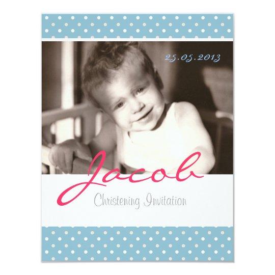 Baby boy christening invitation, blue, white polka card