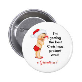 Baby Boy Christmas Announcement Customizable 2 Inch Round Button