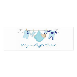 Baby Boy Clothes Line Diaper Raffle - Skinny Card Double-Sided Mini Business Cards (Pack Of 20)