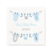 Baby Boy Clothesline Baby Shower Napkin