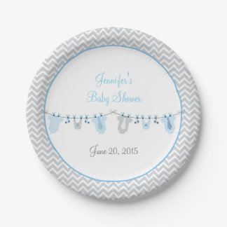 Baby Boy Clothesline Baby Shower Paper Plate