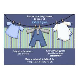 Baby Boy Clothesline Invitation