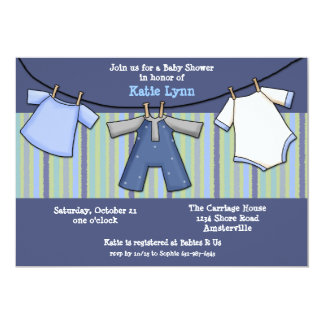 Baby Boy Clothesline Invitation