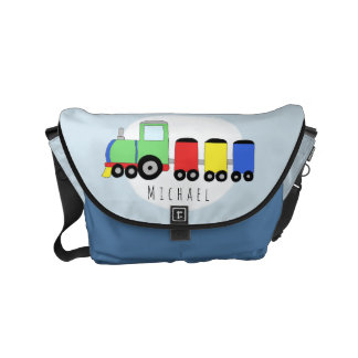 Baby Boy Colorful Train with Name Diaper Small Messenger Bag