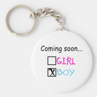 Baby Boy Coming Soon Keychain
