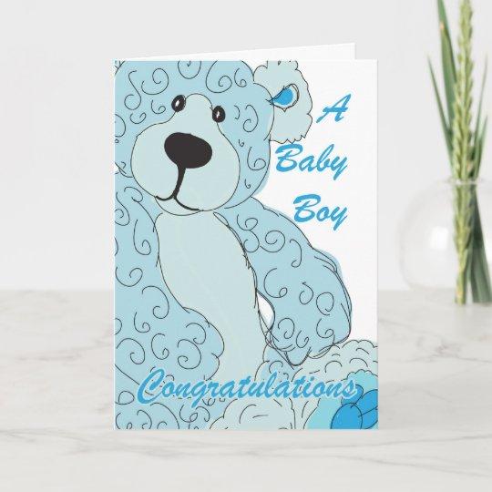 Baby boy congratulations teddy bear in blue card zazzle baby boy congratulations teddy bear in blue card m4hsunfo
