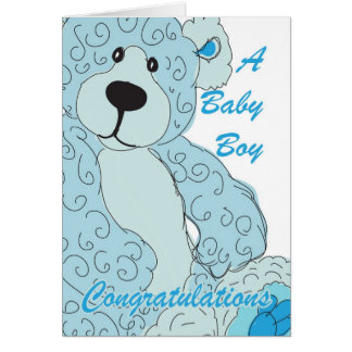 Baby Boy Congratulations Teddy Bear in blue Card