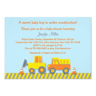 "Baby Boy Construction Truck Baby Shower Invitation 5"" X 7"" Invitation Card"